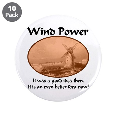 """Wind Power Then & Now 3.5"""" Button (10 pack)"""