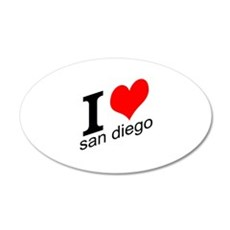 I (heart) San Diego 22x14 Oval Wall Peel