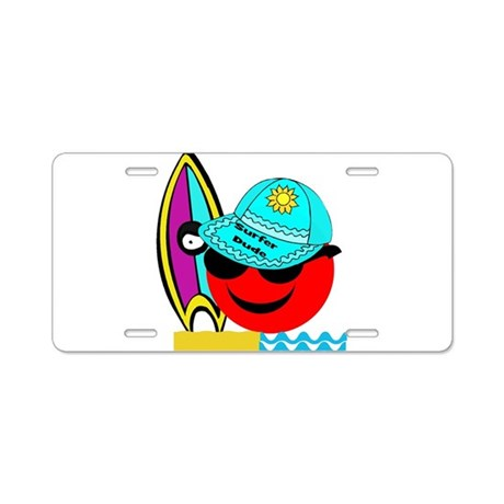 Red Smiley Surfer Dude Aluminum License Plate