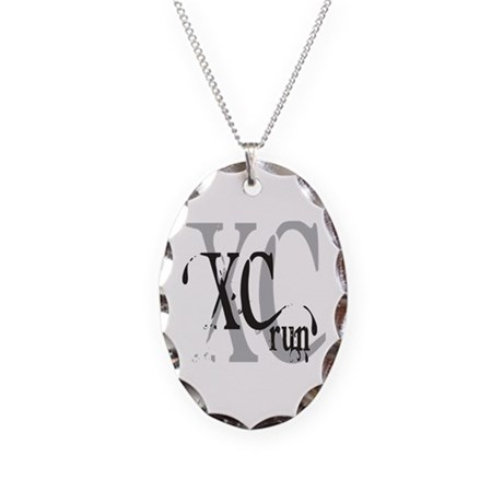 Cross Country XC Necklace Oval Charm