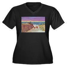Cute Beach painting Women's Plus Size V-Neck Dark T-Shirt
