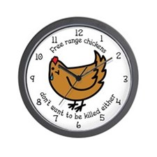Free Range Chickens Vegan/Vegetarian Wall Clock