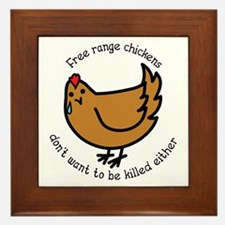 Free Range Chickens Vegan/Vegetarian Framed Tile