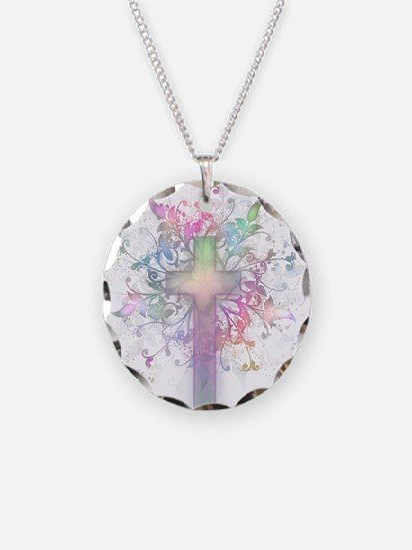 Rainbow Floral Cross Necklace Circle Charm