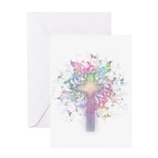Rainbow Floral Cross Greeting Card