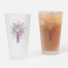 Rainbow Floral Cross Drinking Glass