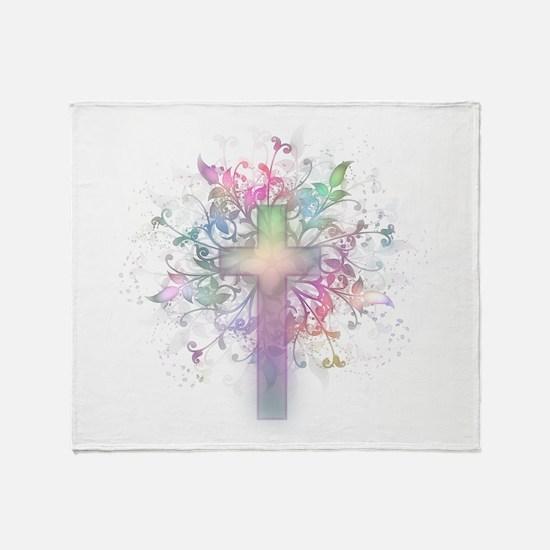 Rainbow Floral Cross Throw Blanket