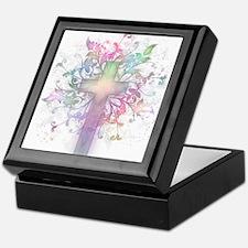 Rainbow Floral Cross Keepsake Box