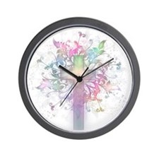 Rainbow Floral Cross Wall Clock