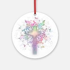 Rainbow Floral Cross Ornament (Round)