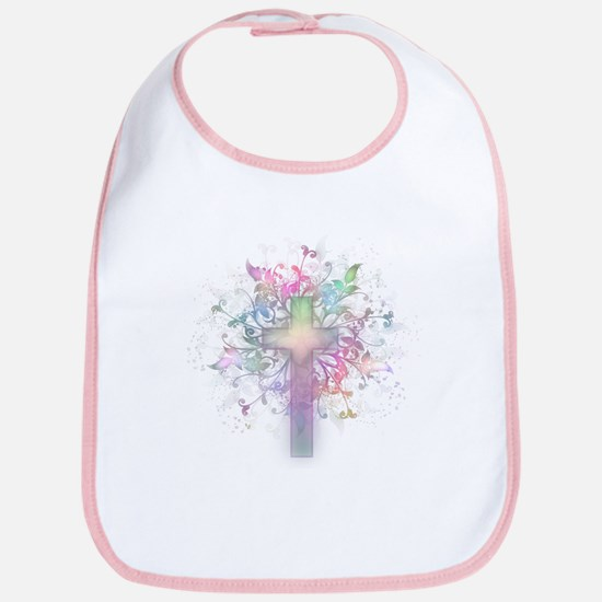 Rainbow Floral Cross Bib