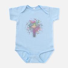 Rainbow Floral Cross Infant Bodysuit