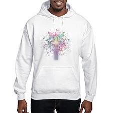Rainbow Floral Cross Hoodie