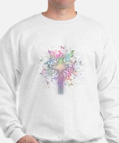 Rainbow Floral Cross Sweatshirt