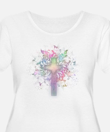 Rainbow Floral Cross T-Shirt