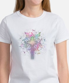 Rainbow Floral Cross Women's T-Shirt