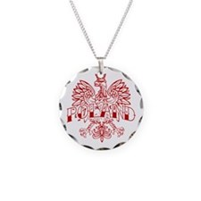 Poland Ink Red Eagle Necklace Circle Charm