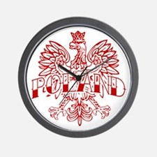 Poland Ink Red Eagle Wall Clock