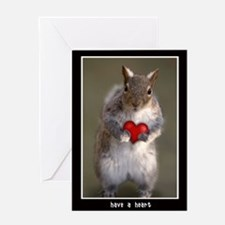 Squirrel Lover Heart Greeting Card (Blank Inside)
