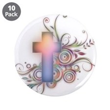 "Swirls N Cross 3.5"" Button (10 pack)"
