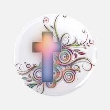 """Swirls N Cross 3.5"""" Button"""