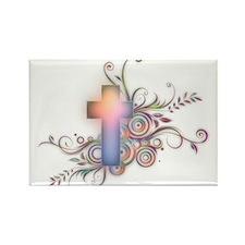 Swirls N Cross Rectangle Magnet