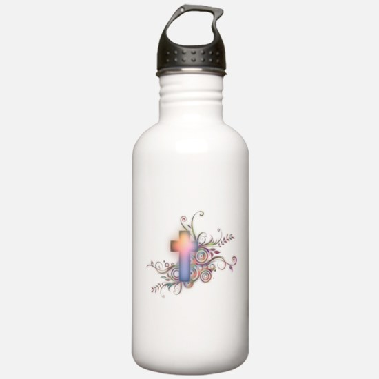 Swirls N Cross Water Bottle