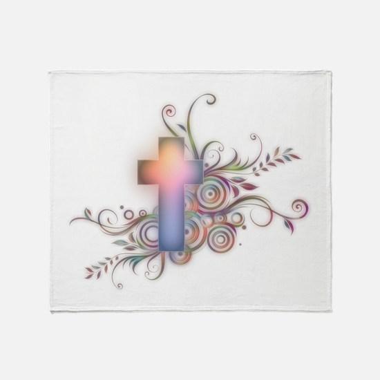 Swirls N Cross Throw Blanket