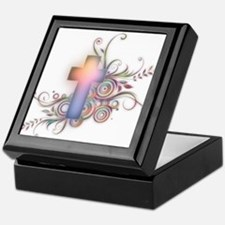 Swirls N Cross Keepsake Box