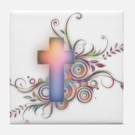 Swirls N Cross Tile Coaster