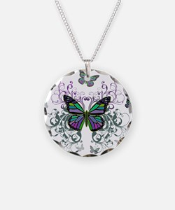MultiColored Butterflies Necklace