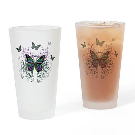 MultiColored Butterflies Drinking Glass
