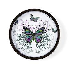 MultiColored Butterflies Wall Clock