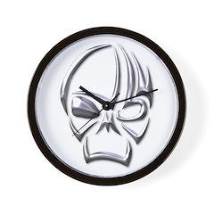 Tribal Skull (Chrome) Wall Clock
