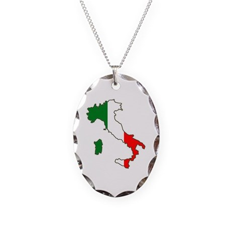 Italy Map Necklace Oval Charm