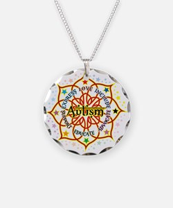 Autism Lotus Necklace Circle Charm