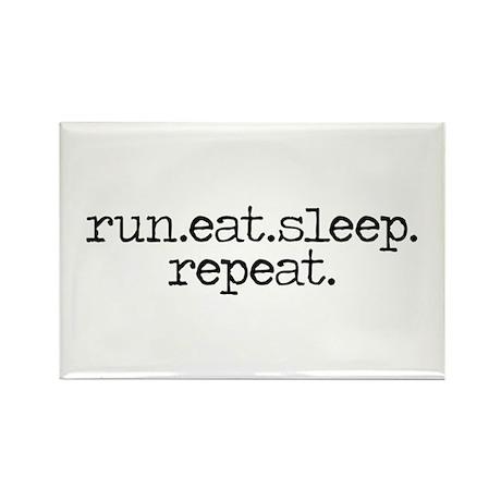 run eat sleep repeat Rectangle Magnet