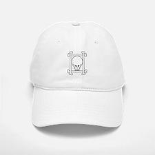 white_skull_framed Baseball Baseball Cap