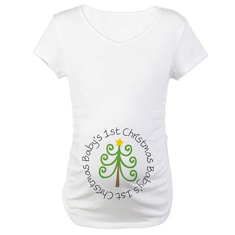 Baby's 1st Christmas Tree Maternity T-Shirt