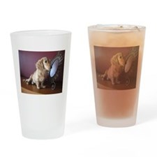 Cream Doxie Drinking Glass