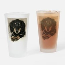 Long Haired Puppy Drinking Glass