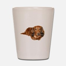 Long Hair Red Dachshund Shot Glass