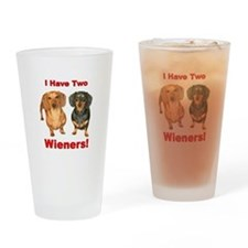 Two Wieners Drinking Glass