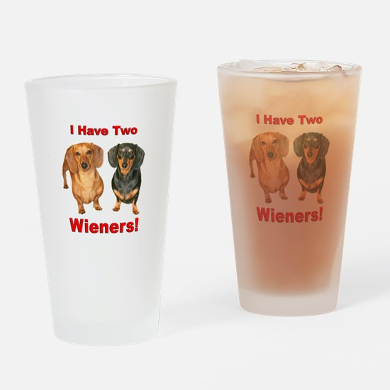 Two Wieners Drinking Glass