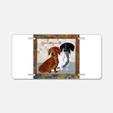 Quilted Dachshunds Aluminum License Plate