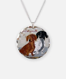 Quilted Dachshunds Necklace
