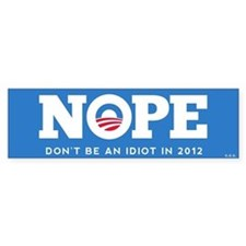 "NOPE - Mock Obama 2012 Sticker 10""x3"""