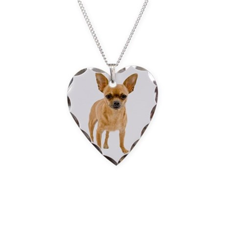 Chihuahua Stand Necklace Heart Charm