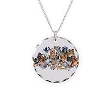 Dog Pile Necklace Circle Charm