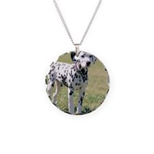 Dalmatian Puppy Necklace Circle Charm